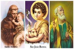 As festas e homenagens de três Santos: Santo Antônio, São João e São Pedro.